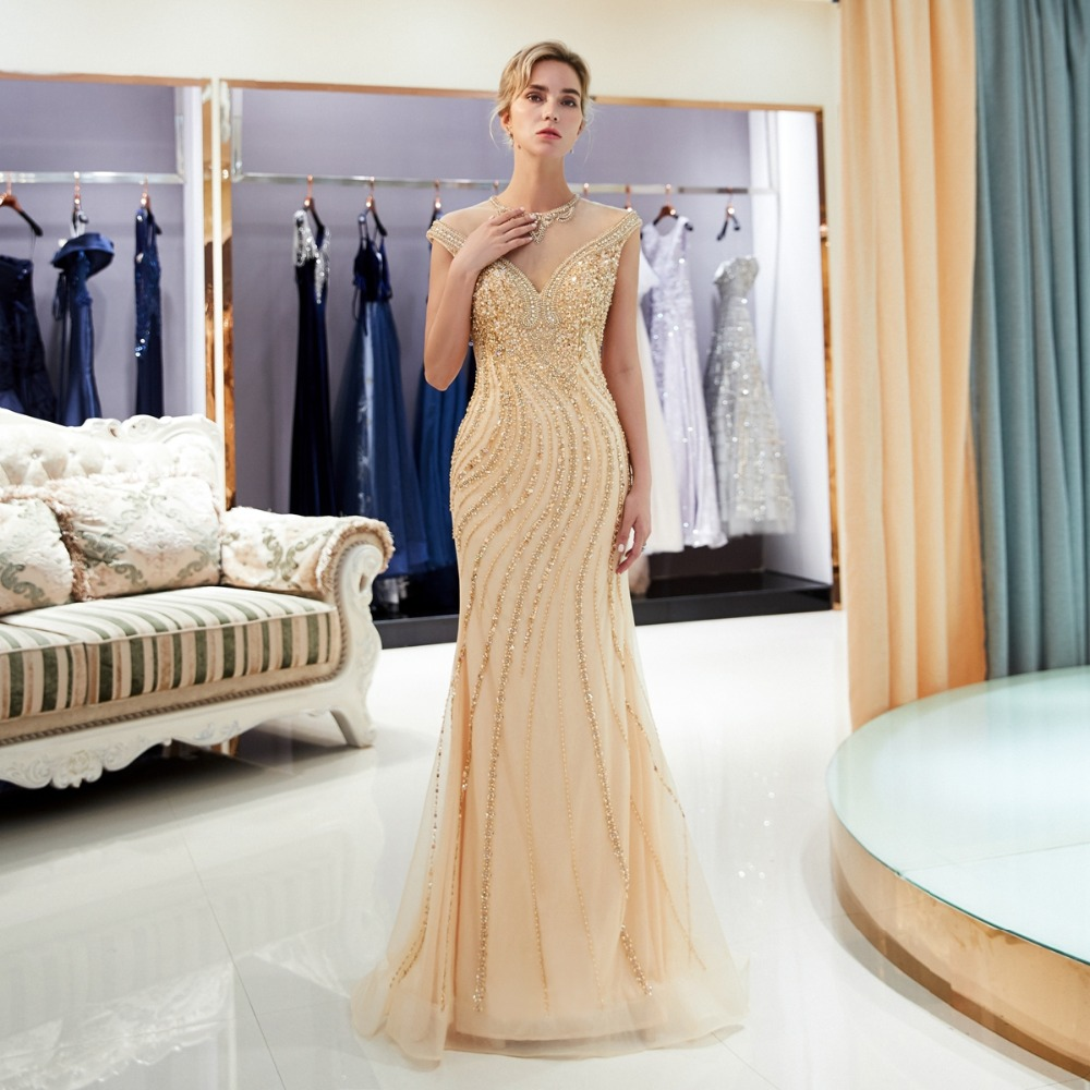 Image 3 - Gold Evening Dresses Walk Beside You Mermaid Beaded Crystal Sleeveless Sukienka Wieczorowa Vestidos Formales Royal Prom Gown-in Evening Dresses from Weddings & Events