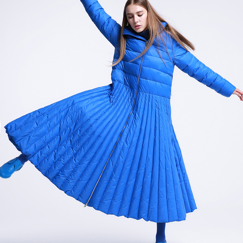 Blue Solid Color 2018 Winter New Long Over The Knee Zipper Stand Collar White Duck Down Jacket Womens Dress Women Winter Coats