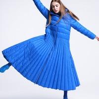 Blue Solid Color 2018 Winter New Long Over The Knee Zipper Stand Collar White Duck Down Jacket Women's Dress Women Winter Coats