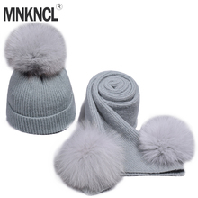 MNKNCL Women Winter Hat And Scarf Set Fashion Cashmere High Quality Fox Hair Pompom Hat Female Warm Cashmere Knitted Hat Scarves multi function deer pattern cashmere warm keep hat scarf black white