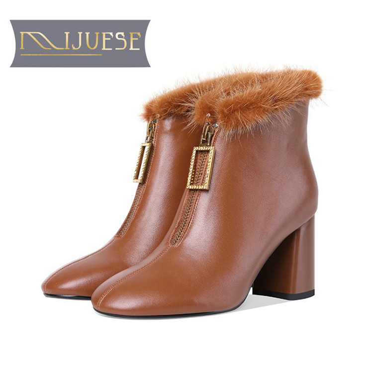 best service cb94f 768f5 US $74.39 47% OFF|MLJUESE 2019 women ankle boots cow leather +Mane hair  zippers Camel color high heels boots winter short plush boots size 34 41-in  ...