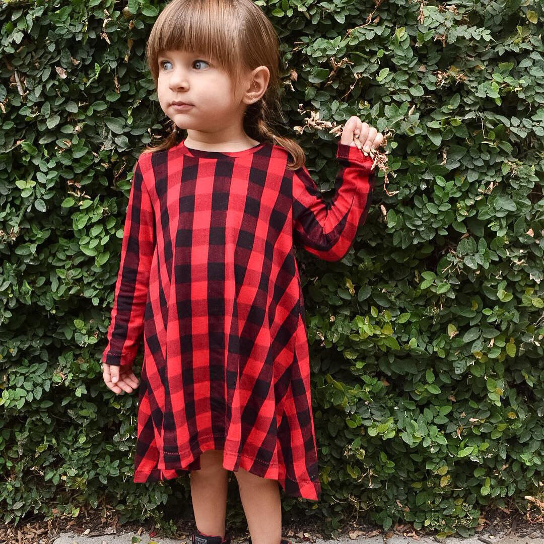 Spring Childrens Long Sleeve Red Plaid Dresses Cotton