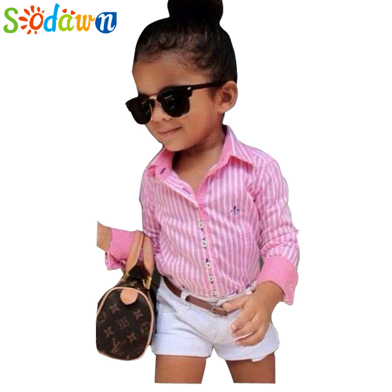 Summer Europe American girls pink striped shirt+shorts+belt 3pcs girls clothing sets suit Fashion children kids girl clothes