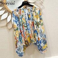 Svoryxiu пикантные с открытыми плечами шелковая блузка рубашки для мальчиков для женщин Элегантный рукав летучая мышь Окрашенные Керамика пе