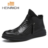HEINRICH New Arrivals Men Boot Shoes Fashion Casual Boots Autumn Leather Footwear Man High Top Black Men Shoes Bota Militar