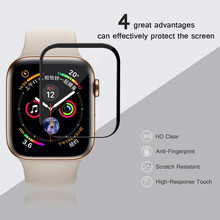 цена на New Tempered Glass Film For Apple Watch band Series 4 44mm 40mm Full Cover Screen Protector iwatch i watch 3/2/1 42mm 38mm