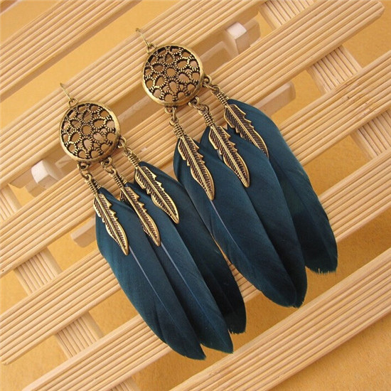 H:HYDE Dream Catcher Hollow out Vintage Leaf Feather Dangle Earrings For Women Bohemia Earring Lady's Ethnic Indian Jewelry 3