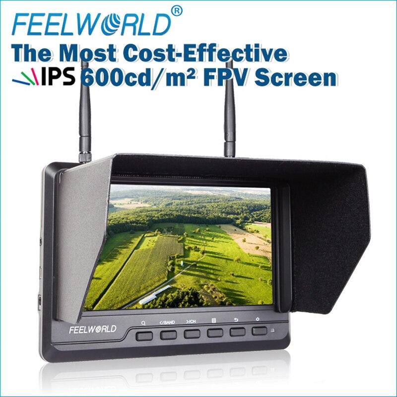 FEELWORLD 7 дюймов 1024x600 IPS ультра-тонкий FPV-системы Мониторы для Drone со встроенным Батарея двойной 5.8 Г 40ch разнесенного FPV-системы 720