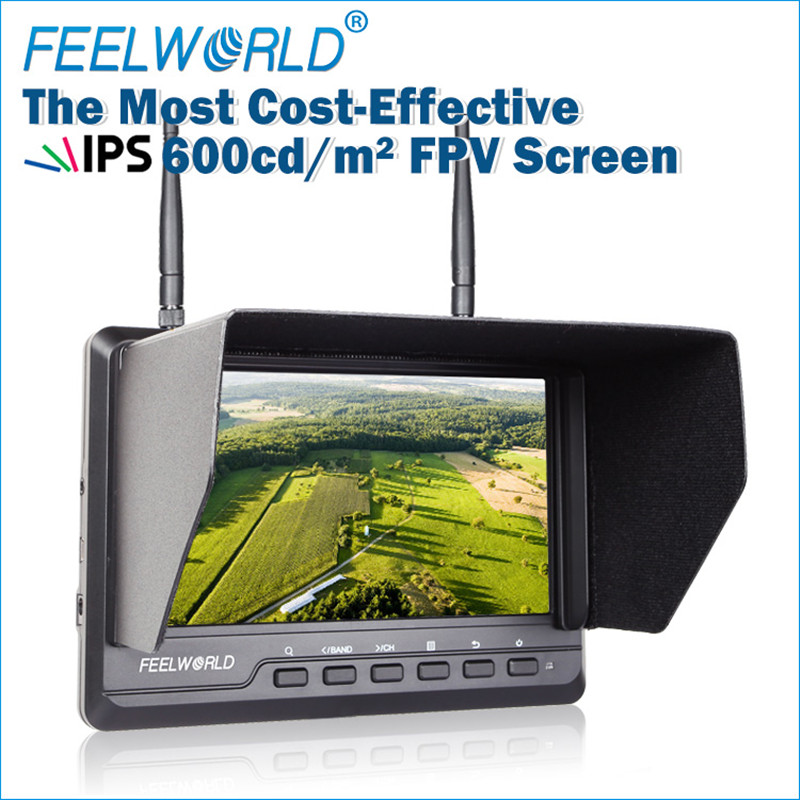 Feelworld 7 Inch 1024x600 IPS Ultra-thin FPV Monitor for Drone with Built-in Battery Dual 5.8G 40CH Diversity Receiver FPV720