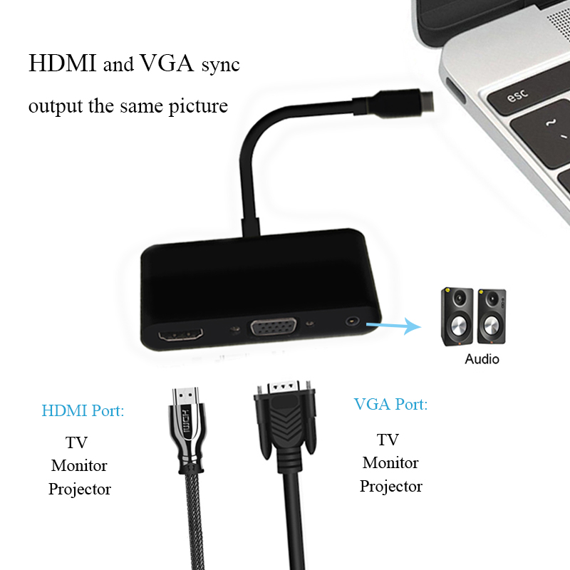 USB Type C to HUB VGA HDMI DP Audio 4 in 1 Cable Adapter For Air Pro MacBook