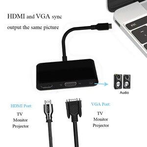 Image 3 - 3 1 で USB C ハブタイプ C に 4 18K 1080 1080p hdmi USB3.0 VGA 3.5 ミリメートルオーディオアダプタ macbook ノートパソコンのヘッドホン adaptador usb ドックケーブル