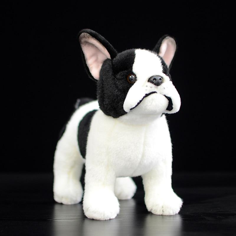 26cm High Real Life Standing France Bulldog Plush Toys Soft Lifelike Dog Stuffed Animal Toy Kid Baby Toys Christmas Gifts Lovely
