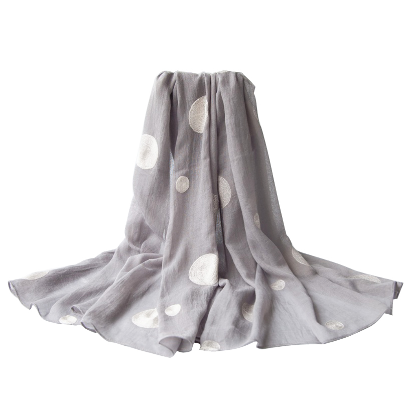 Fashion Joker   Scarves   Cotton Voile Large & Small Dots Embroidery Shawl   Scarf     Wrap   90X180CM