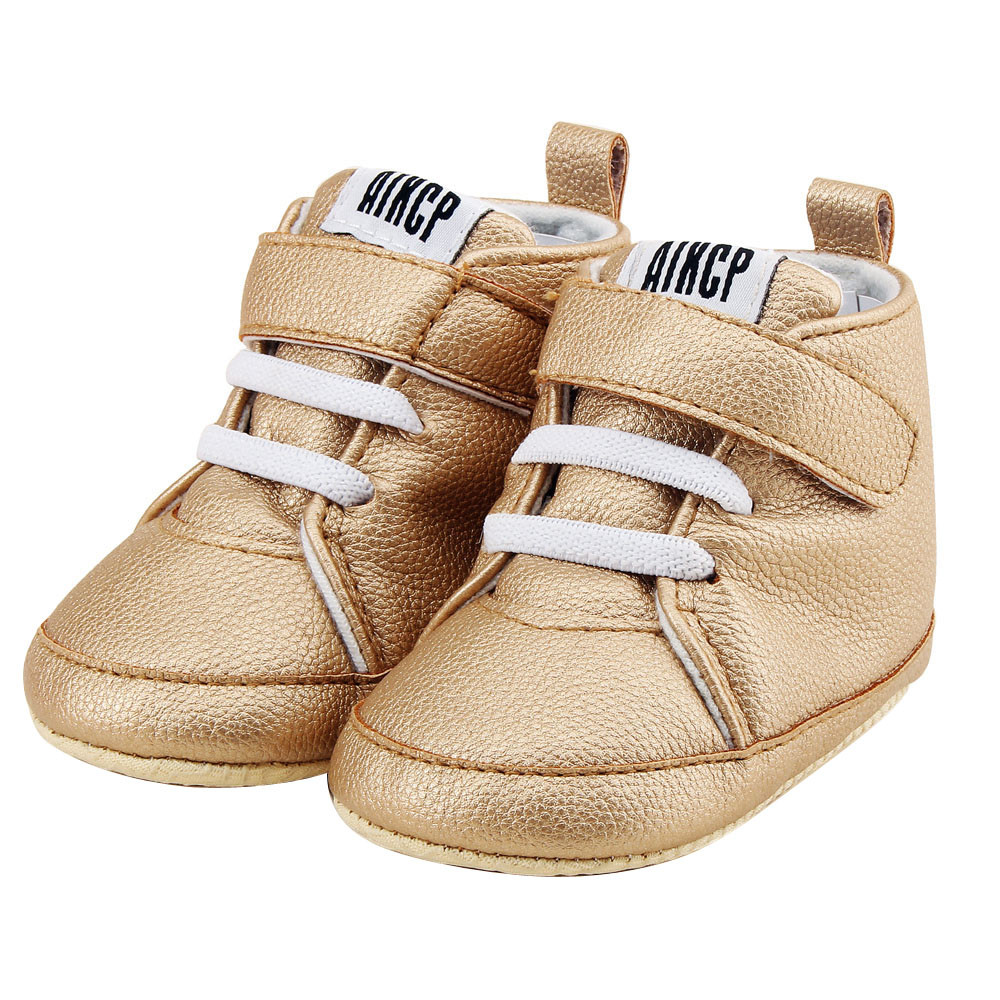 NewBorn Baby Autuam Leather Solid Fashion shoes Toddler Girls Boys Crib EVA Bottom Shoes Prewalker Soft Sole First Walk Sneakers