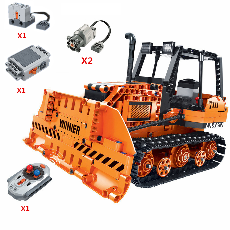 2019 NEW Technic Series Functions Power Remote Control Bulldozer Building Blocks Model Bricks Classic RC For Children Toys Gift-in Blocks from Toys & Hobbies    1
