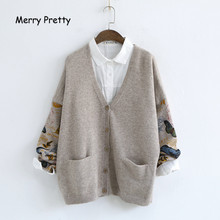 Merry Pretty Japan Style Mori Girl Sweater Women Autumn Full Sleeved V-neck Floral Printed Cardigans Knitted Cardigan