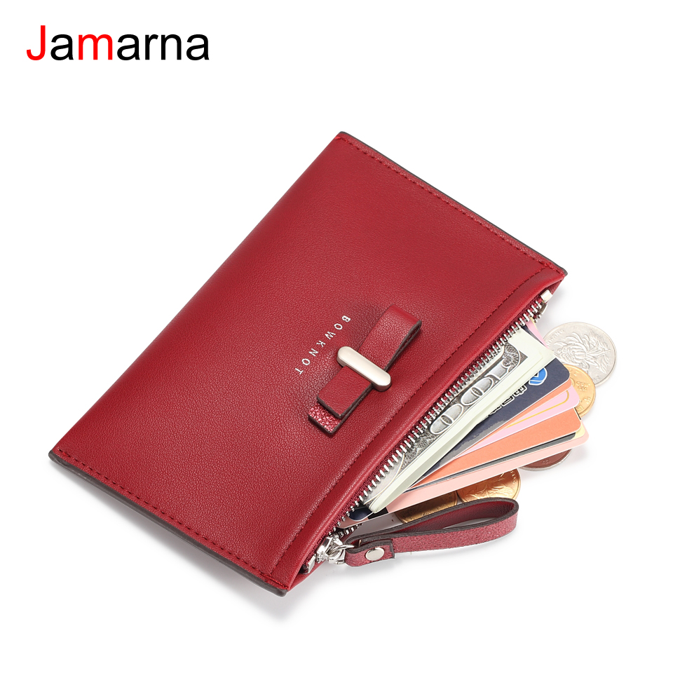 Jamarna Coin Purse PU Leather Coin Holder Small Wallet Coin Purse Zipper Red Wallet Business Card Holder Purse For Coins стоимость