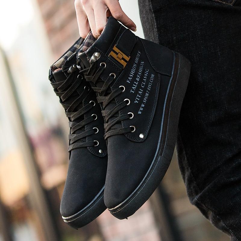 Taille Grande Koovan Casual En Automne Bottes Mâle Et Cuir Mat Hommes vert marron 2018 High gris Sneakers Top Rétro Chaussures D'hiver De Noir 47 Aq6pwAC