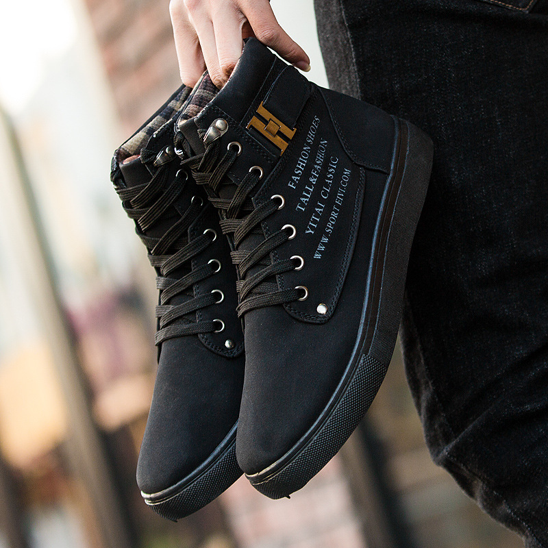 Koovan Men's Sneakers Boots 2019 Matte Leather High Top Men's Shoes Large Size Size 47 Retro Casual Men's Boots Male