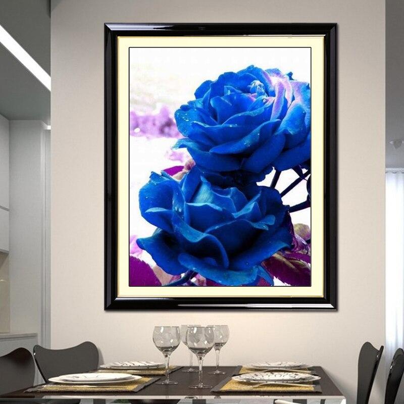 Diy Printed Cross Sch Mawar Biru Larangan Baru R Tidur Besar Ruang Tamu Sederhana Modern Dekorasi Gambar Sutra Di Paket Dari Rumah