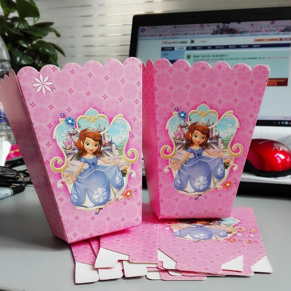 6pcs/set funny princess sofia kids birthday party supplies Popcorn Box case Box Favor Ac ...