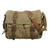 ASDS Men S Vintage Canvas Leather School Military Shoulder Bag Messenger Sling Crossbody Bag Satchel