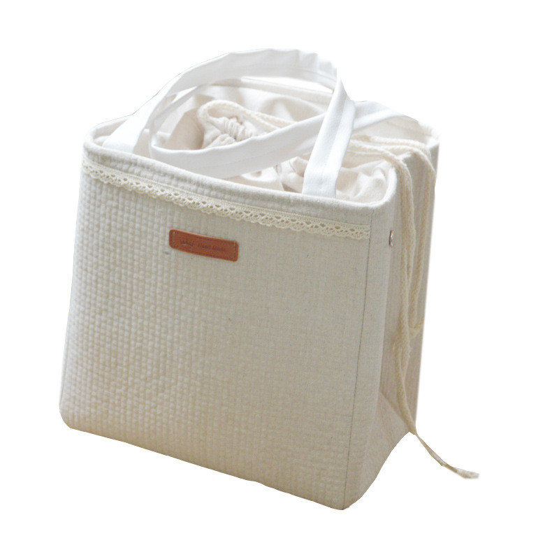 Cotton and linen aluminum foil thickened meal box insulation bag lunch square portable