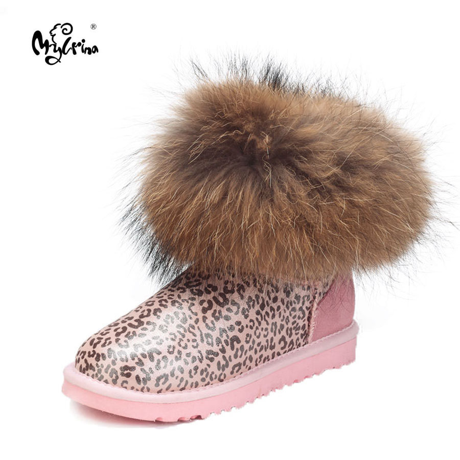 MYLRINA Hot Sale 100% Real Sheepskin Winter Warm Snow Boots Ankle Boots Fashion Thick Natural Fox fur Snow Boots Women Boots