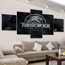 Framework 5 Panel Modern Canvas Print Artwork Movies Jurassic World Fallen Kingdom Logo Poster Wall Picture Home Decorative