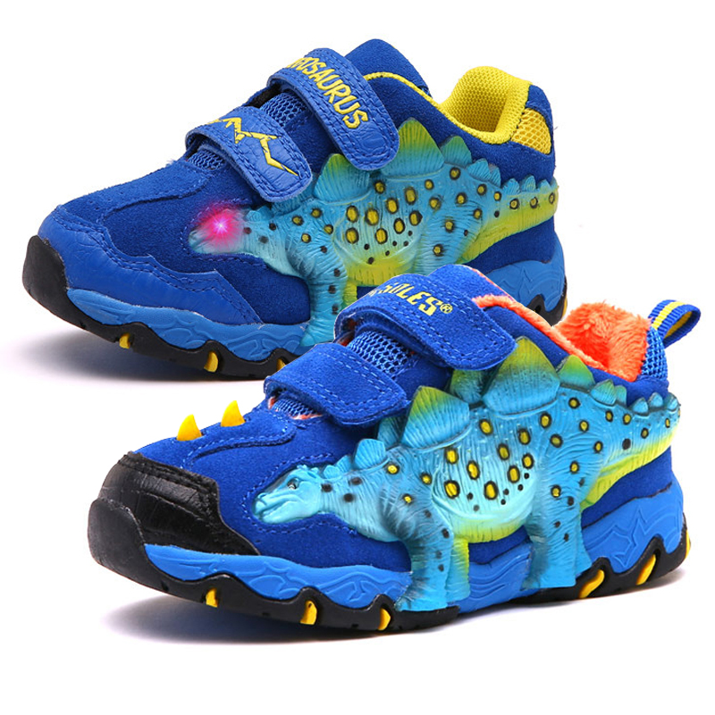 Dinoskulls Boys Light Up Shoes LED Glowing Kids Sneakers 3D Dinosaur Spring Childrens Trainers  Breathable Leather Tenis ShoesDinoskulls Boys Light Up Shoes LED Glowing Kids Sneakers 3D Dinosaur Spring Childrens Trainers  Breathable Leather Tenis Shoes