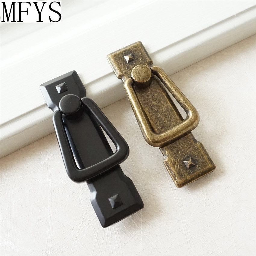 Drop Ring Vintage Style Dresser Drawer Pulls Handles Antique Bronze Black Square Retro Kitchen Cabinet Handle Pull Furniture