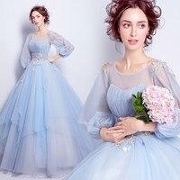 Light blue quinceanera kleider für 15 jahre sweet 16 kleider Ballkleid Korsett Bithday Party Kleider Mit Sheer Long Sleeves 2017