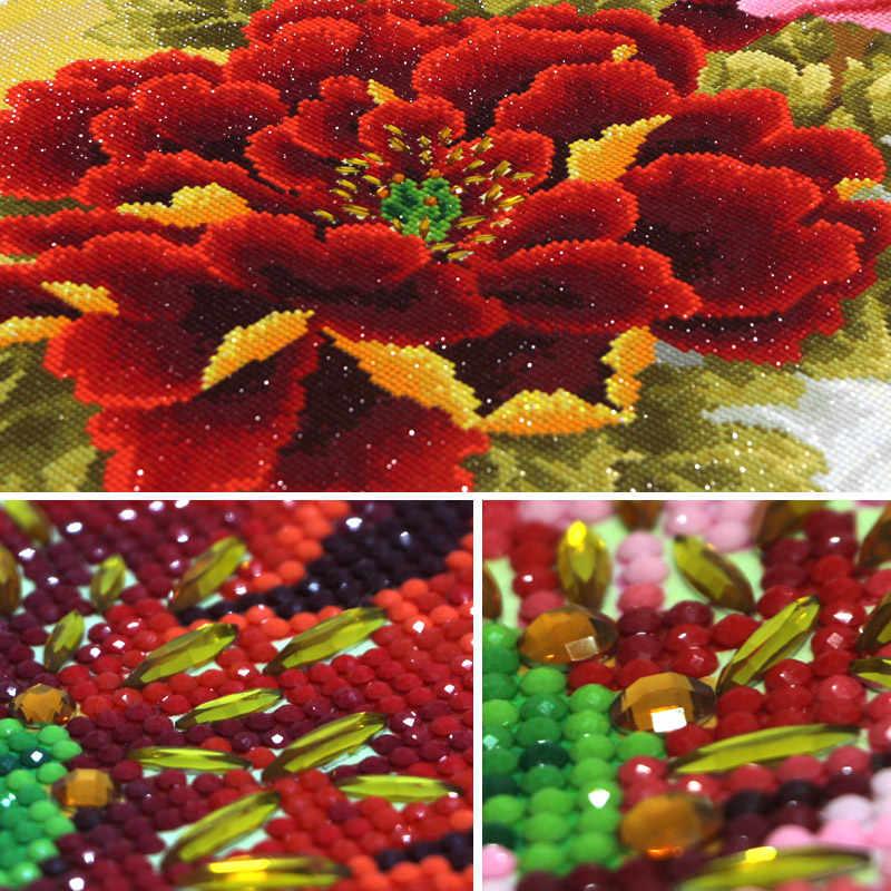 5d pintura de diamantes diy peônia flor strass, broca de cristal, diamante, bordado, forma especial, diamante, mosaico, decoração doméstica