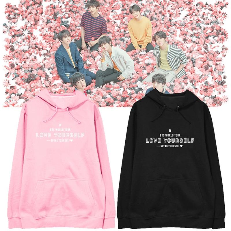 Hoodies & Sweatshirts Bts Love Yourself Pink Hoodies Bangtan Boys Casual Hoodies Women Kpop Long Sleeve Hooded Sweatshirts 2019 New Harajuku Clothes Ideal Gift For All Occasions