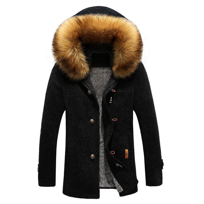 High-Quality Blends-Coat Men's Winter Fashion Casual Thick Solid Hooded Fur-Collar Students