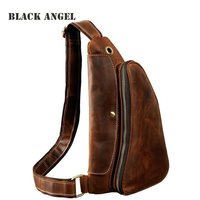 Tide Mens Crazy Horse Leather Chest Pack Bag Travel Sling Fashion Design Genuine Messenger
