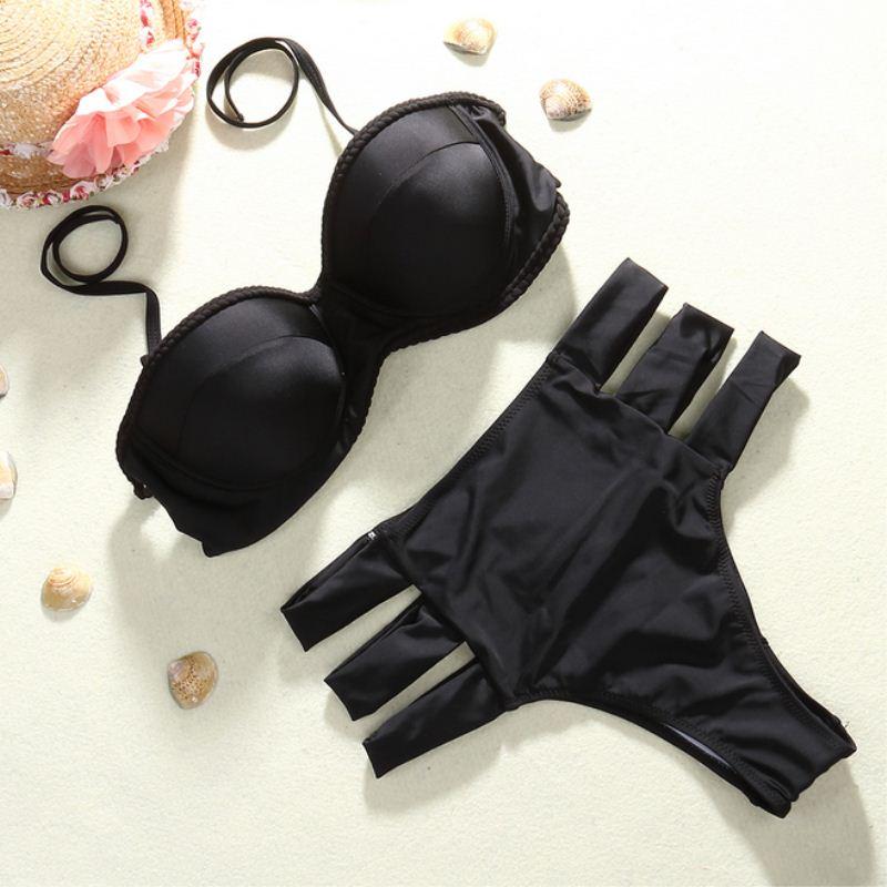 plus size xxl costumi da bagno donna push up sexy bikinis set strappy delle donne di