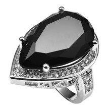 Énorme Noir onyx Avec Multi Blanc Cristal Zircon 925 Bague En Argent Sterling prix usine Pour Les Femmes Taille 6 7 8 9 10 11 F1503