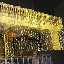 RGB 300 LEDS 3M*3M Led Waterfall Outdoor String Light Christmas Wedding Party Holiday Garden LED Curtain Lights Decoration(China)