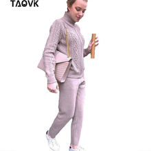 9c5d1c2346fd TAOVK sweater suits twist zipper stand collar cardigan loose Pants 2 Piece  Sets Dense Warm Knit suit Soft Tall Ladies outfits