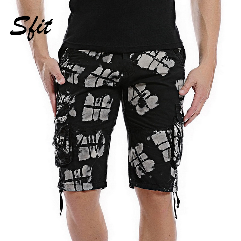 Sfit 2019 Summer Men Camo Cargo   Shorts   Homme Relaxed Fit Multi-Pocket Workout Cotton Casual Sports Quick Dry Beach   Board     Shorts