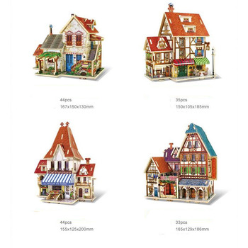 3D Wooden House Puzzle French Style Coffee Cafe Shop Farm Flower Store Hotel Kids DIY Building Toy Gift For Children 21035 lego