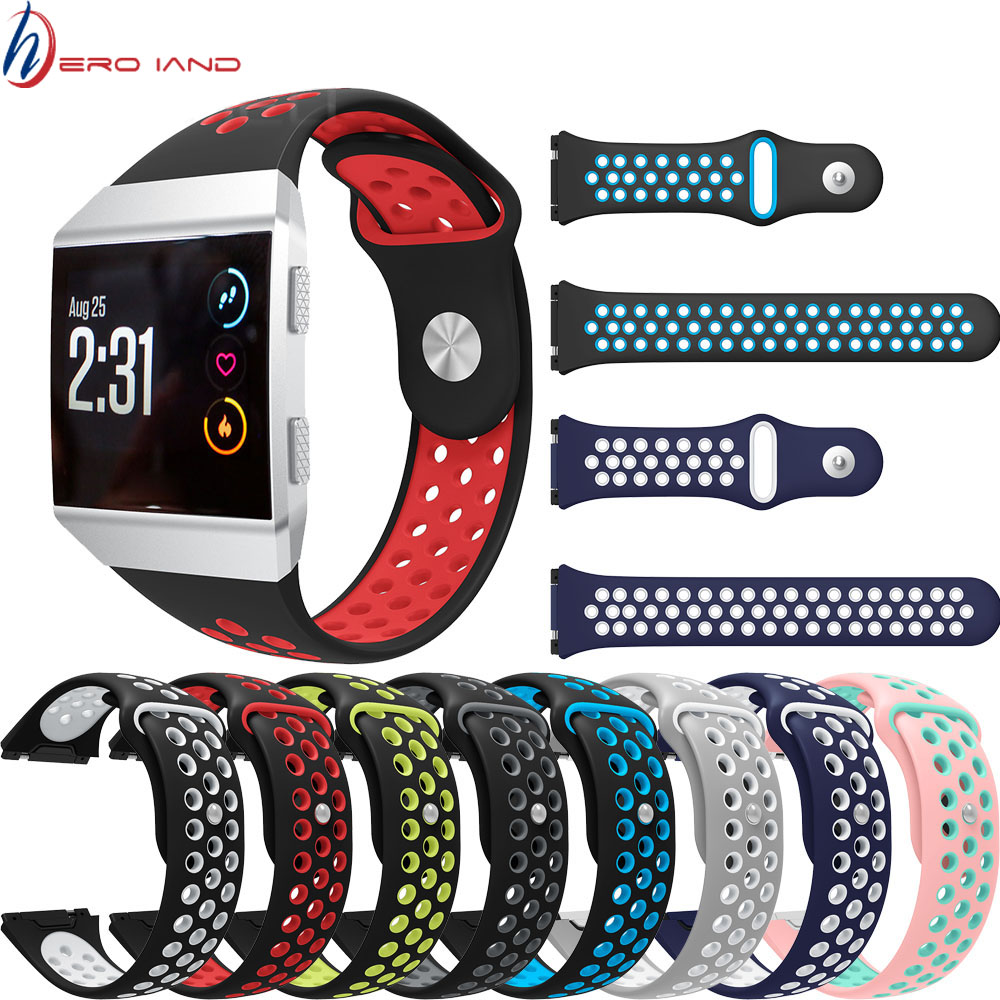 Lightweight Ventilate Silicone Sport Watch Bands Bracelet For Fitbit Ionic Smart Watch Adjustable Replacement Bangle Accessory