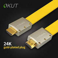 OKUT Gold Plated 3D 1 4V 4KX2K Gold Plated Flat HDMI Cable 18Gbps Full HD 1080P