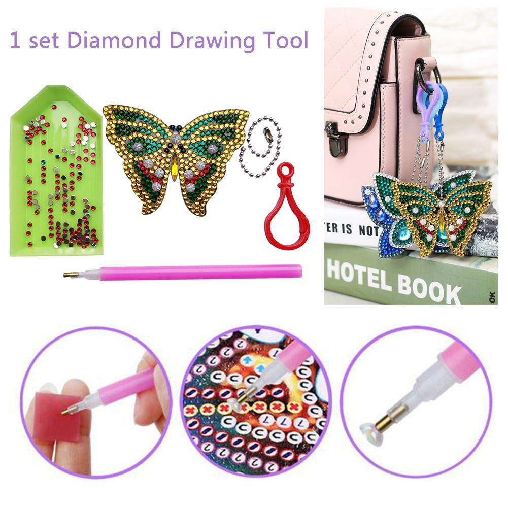2 3 Pcs DIY Full Special Butterfly Shaped Diamond Painting Keyring Keychains Cross Stitch Embroidery Women Bag Key Chain in Diamond Painting Cross Stitch from Home Garden