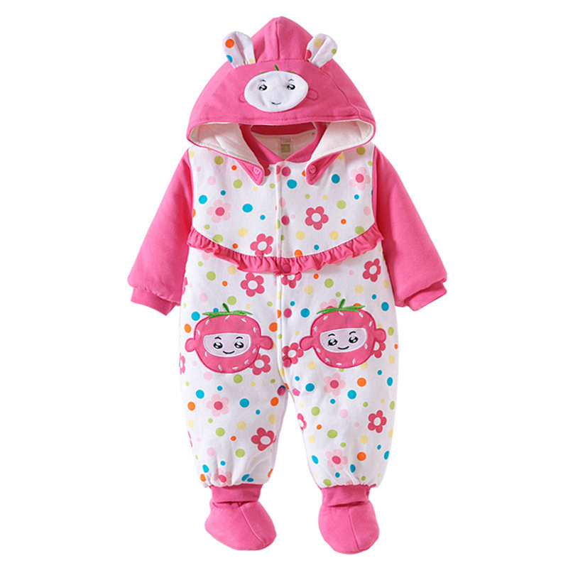 Fashion 2016 Cute Baby Girl Winter Romper Thick Hooded Newborn Girls Cotton Overalls Padded Infant Clothing  for 0-12 MonthsFashion 2016 Cute Baby Girl Winter Romper Thick Hooded Newborn Girls Cotton Overalls Padded Infant Clothing  for 0-12 Months