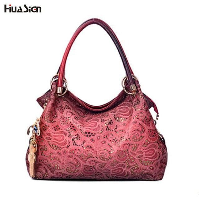 Hollow Out Women Floral Printing Handbag PU Leather Shoulder Bags Ladies  Tote Bag Tassel Sequined Bolsa Feminina f244170144a27
