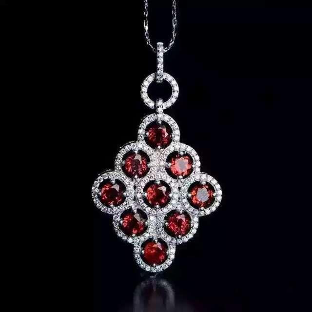 Natural red garnet pedra S925 pingente de prata Natural gemstone Colar Pingente de moda de Luxo grande rodada mulheres partido jóias
