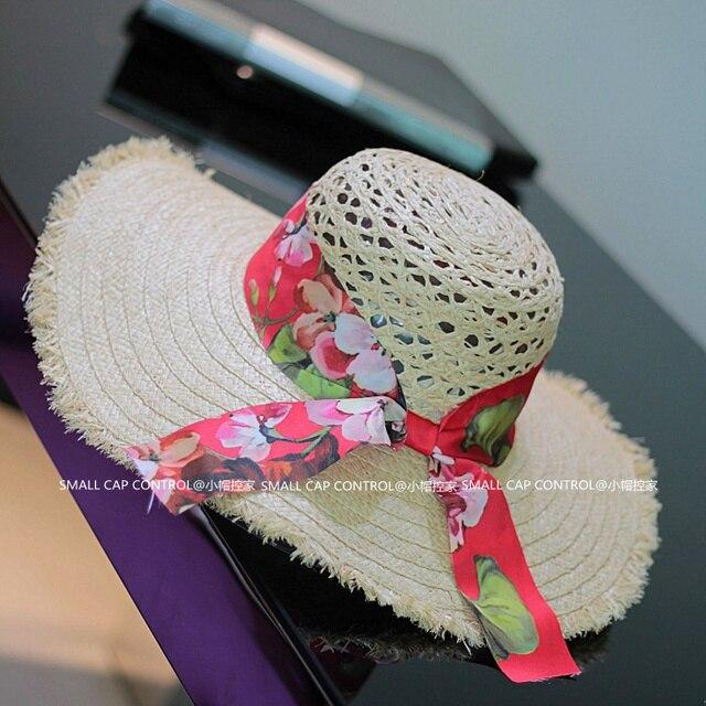 2016 nueva Bohemia del verano de paja sombreros para mujer grandes hechos a mano del recorte playa Floppy Caps SCCDS-031