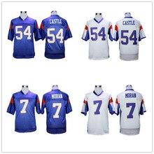 Blue Mountain State 54 Thad Castillo 7 Alex Moran fútbol Jerseys de calidad  superior cosido azul blanco camisetas de fútbol al p. d09716d4b07